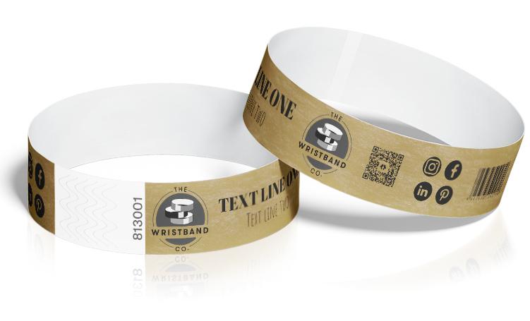 100 Gold Custom Printed Wristbands