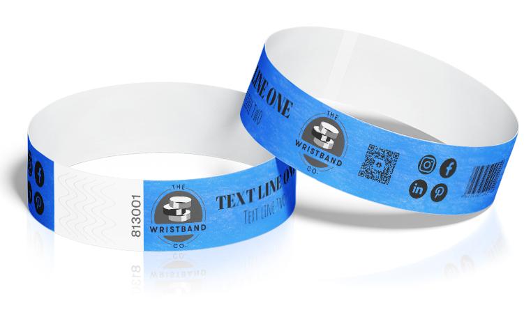 100 Neon Blue Custom Printed Wristbands