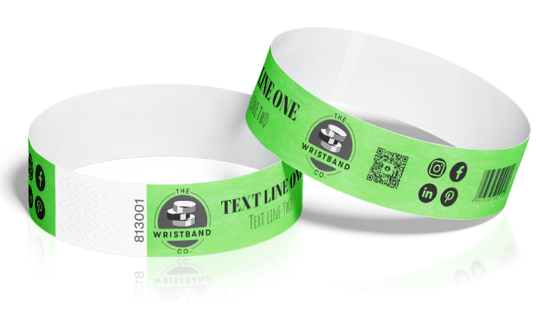100 Neon Green Custom Printed Wristbands