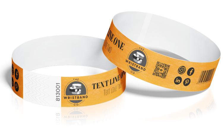 100 Neon Orange Custom Printed Wristbands