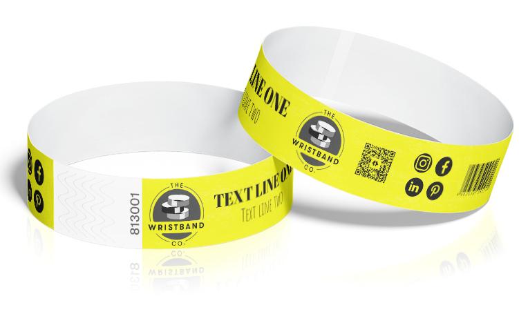 100 Neon Yellow Custom Printed Wristbands