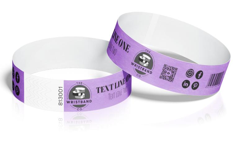 100 Purple Custom Printed Wristbands