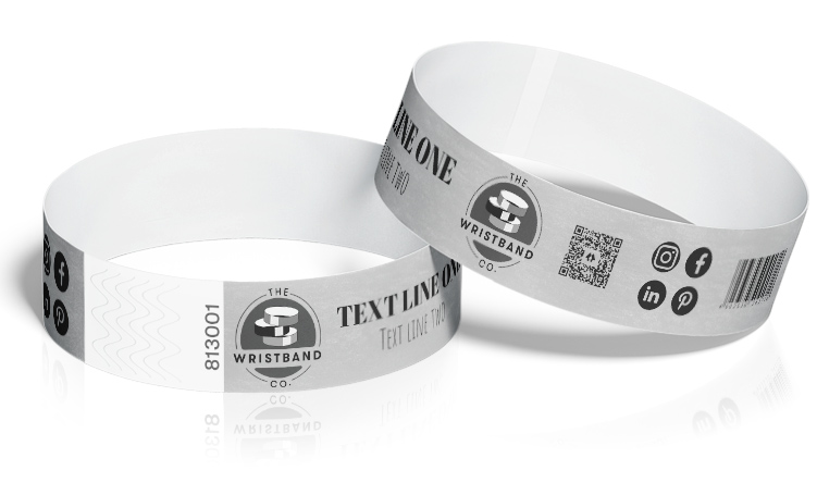 100 Silver Custom Printed Wristbands