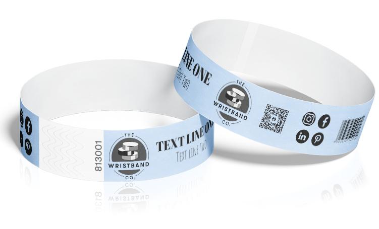 100 Sky Blue Custom Printed Wristbands