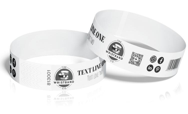 100 White Custom Printed Wristbands