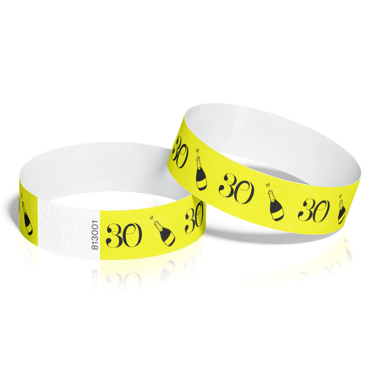 Birthday Event Wristbands with 30th Birthday Theme