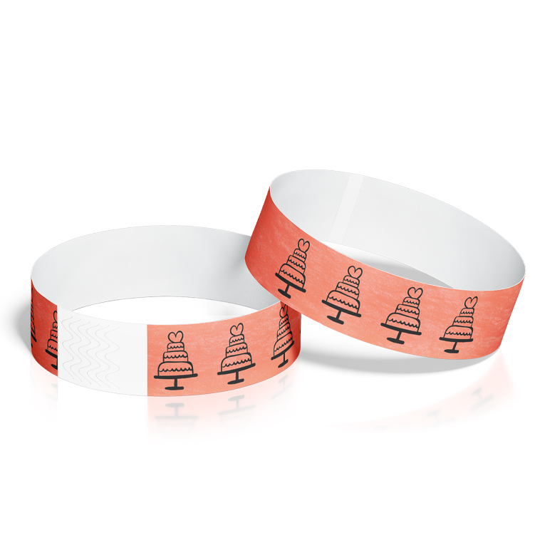 Custom Wristbands for Weddings with Wedding Cake Design
